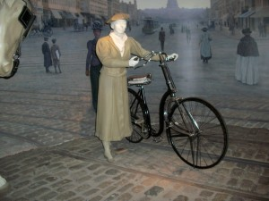 The American History Museum had very few bicycles in the transportation exhibit.