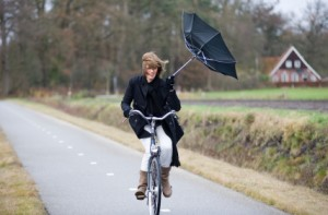 Bicycle in the wind can be fun or miserable. Your choice.